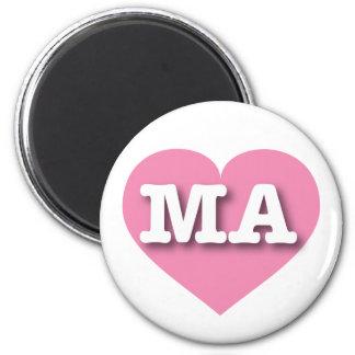Massachusetts MA pink heart Refrigerator Magnet
