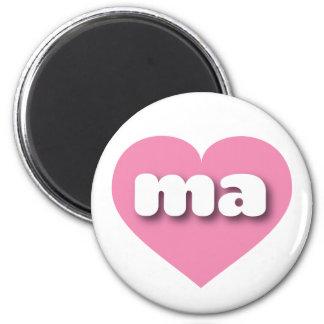 Massachusetts ma pink heart fridge magnet