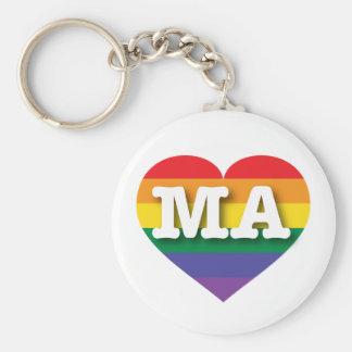 Massachusetts MA rainbow pride heart Keychain