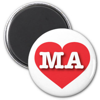 Massachusetts MA red heart 2 Inch Round Magnet