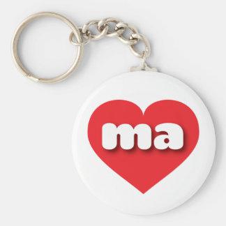 Massachusetts ma red heart keychains