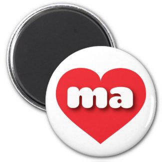 Massachusetts ma red heart fridge magnet
