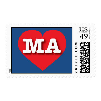 Massachusetts MA red heart Postage Stamp