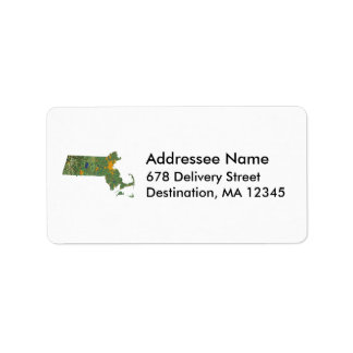 Massachusetts Map Address Label