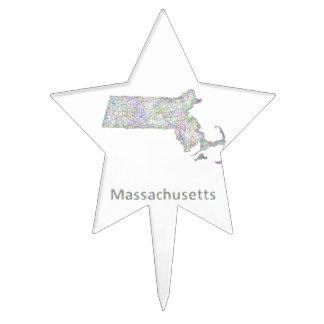 Massachusetts map cake topper