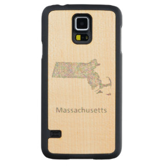 Massachusetts map carved maple galaxy s5 slim case