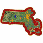 "Massachusetts Map Christmas Ornament Cut Out<br><div class=""desc"">This acrylic ornament shaped from a relief map of Massachusetts surrounded by festive trim will add novel Massachusetts flair to your seasonal decorations. Also available as a pin,  magnet or keychain. 