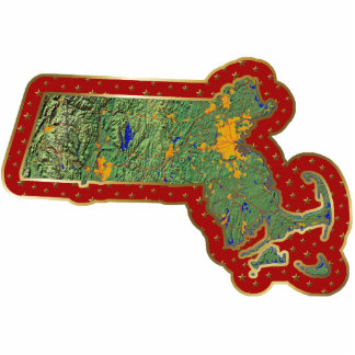 Massachusetts Map Christmas Ornament Cut Out