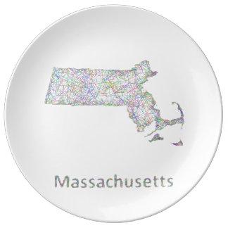 Massachusetts map dinner plate