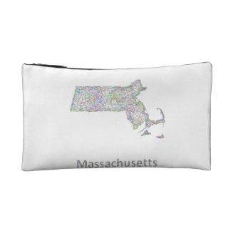 Massachusetts map makeup bag
