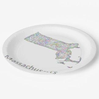 Massachusetts map paper plate