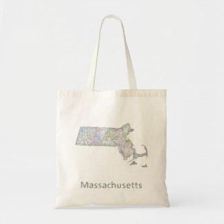 Massachusetts map tote bag