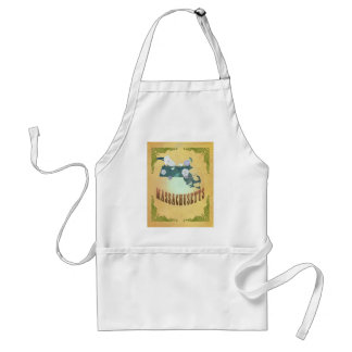 Massachusetts Map With Lovely Birds Adult Apron