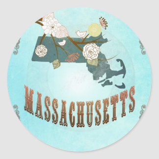 Massachusetts Map With Lovely Birds Classic Round Sticker