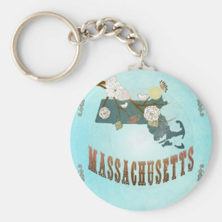 Massachusetts Map With Lovely Birds Keychains