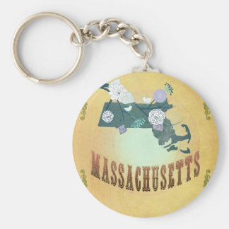 Massachusetts Map With Lovely Birds Keychain