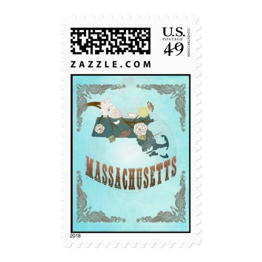 Massachusetts  Map With Lovely Birds Stamps