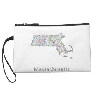 Massachusetts map wristlet wallet