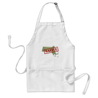 Massachusetts Native with Massachusetts Map Adult Apron