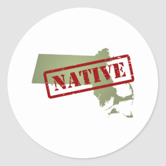 Massachusetts Native with Massachusetts Map Classic Round Sticker
