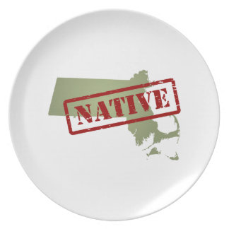 Massachusetts Native with Massachusetts Map Dinner Plate