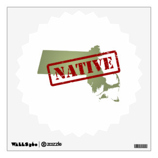 Massachusetts Native with Massachusetts Map Wall Sticker