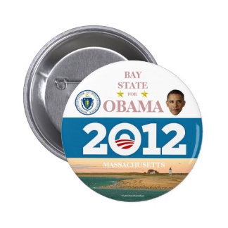 MASSACHUSETTS para el pinback político de Obama Pin Redondo De 2 Pulgadas