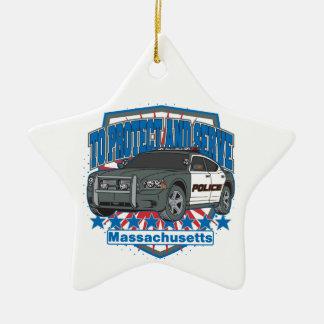 Massachusetts para proteger y para servir el coche adorno de cerámica en forma de estrella