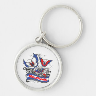 Massachusetts Patriotism Butterfly Key Chains