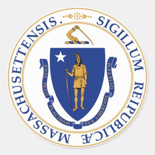 Massachusetts Pegatinas Redondas