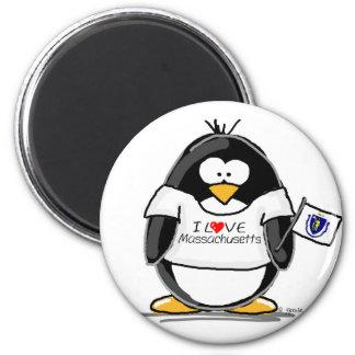 Massachusetts penguin fridge magnet