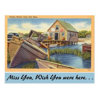 Massachusetts, pescando la chabola, Cape Cod Tarjeta Postal