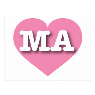 Massachusetts Pink Heart - Big Love Postcard