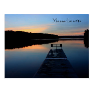 Massachusetts Pond and Dock at Twilight Postcard