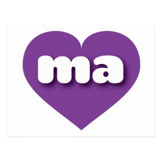 Massachusetts purple heart - mini love postcard