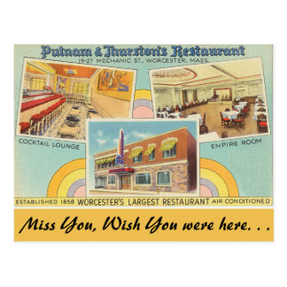 Massachusetts, Putnam & Thurston's Restaurant Postcard