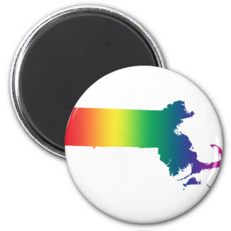 Massachusetts Rainbow Gay Pride Equality 2 Inch Round Magnet