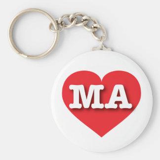 Massachusetts Red Heart - Big Love Basic Round Button Keychain