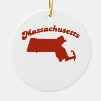 MASSACHUSETTS Red State Double-Sided Ceramic Round Christmas Ornament