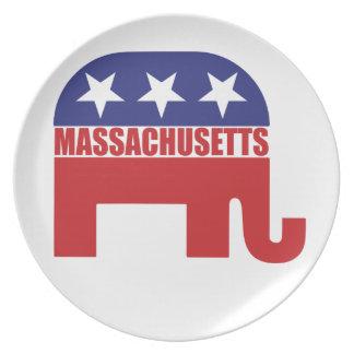 Massachusetts Republican Elephant Party Plate