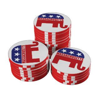 Massachusetts Republican Elephant Poker Chips Set