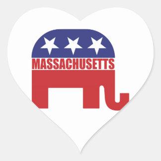 Massachusetts Republican Elephant Heart Stickers
