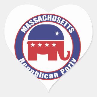 Massachusetts Republican Party Heart Sticker