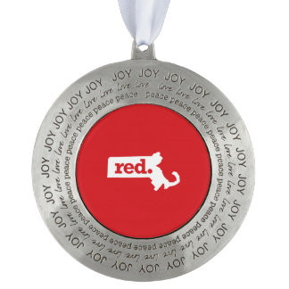 Massachusetts Republican Round Pewter Christmas Ornament