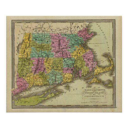 Massachusetts Rhode Island And Connecticut 2 Posters
