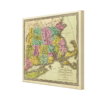 Massachusetts Rhode Island And Connecticut Canvas Print
