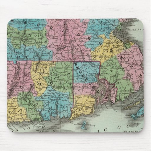 Massachusetts Rhode Island And Connecticut Mouse Pad