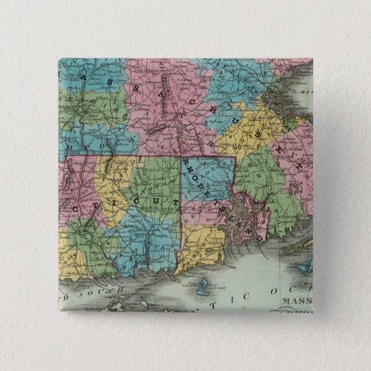 Massachusetts Rhode Island And Connecticut Pinback Button