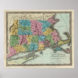 Massachusetts Rhode Island And Connecticut Poster