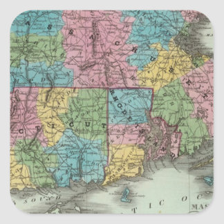 Massachusetts Rhode Island y Connecticut Pegatina Cuadrada